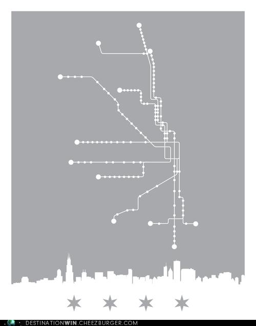 Minimalist Chicago Train Map