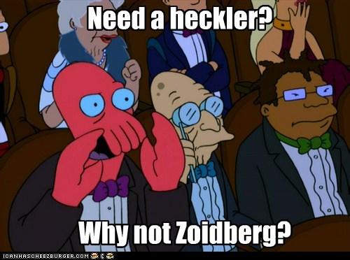futurama,heckling,hermes,professor farnsworth,why not zoidberg,Zoidberg