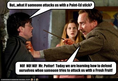 bonnie wright,Daniel Radcliffe,david thewlis,defense,fresh fruit,ginny weasley,Harry Potter,monty python,pointed stick,potter,professor lupin