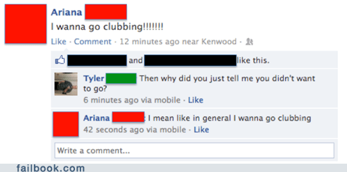"As In, ""I Don't Wanna Go Clubbing With YOU"""