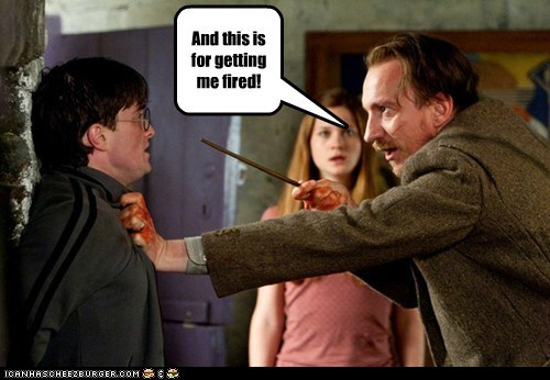 bonnie wright,Daniel Radcliffe,david thewlis,fired,ginny weasley,harry,job,professor lupin,threat,wand