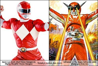 Jason Lee Scott (Red Power Ranger) in Mighty Morphin' Power Rangers Totally Looks Like Inframan in The Super Inframan (AKA Zhong guo chao ren)
