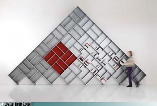 Angles,bookcase,diagonal,pyramid,shelves