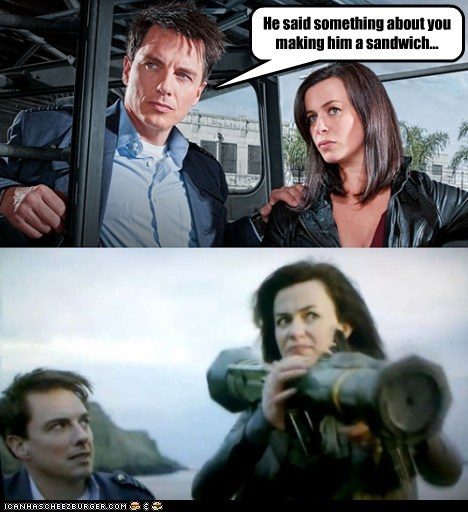 angry,bazooka,Captain Jack Harkness,eve myles,Gwen Cooper,john barrowman,sandwich,sexist jokes,tired,Torchwood
