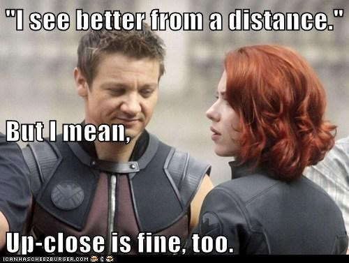 avengers,bewbs,Black Widow,close,distance,hawkeye,Jeremy renner,scarlett johannson,seeing,Staring