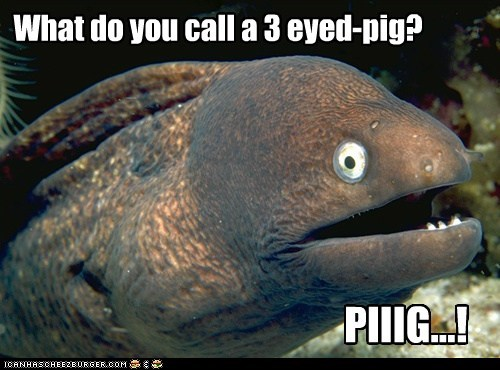 What do you call a 3 eyed-pig?