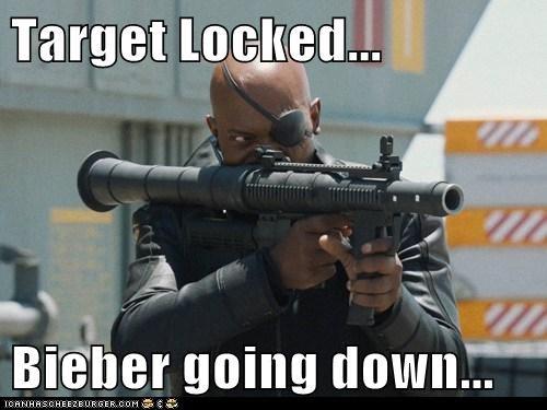 avengers,going down,justin bieber,Nick Fury,rocket launcher,Samuel L Jackson,Target