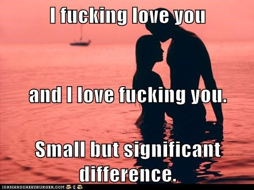 I fucking love you and I love fucking you. Small but significant difference.