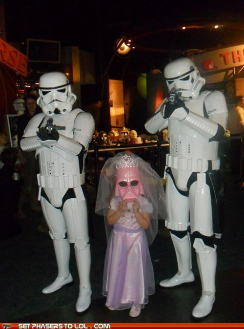 cosplay,cute,darth vader,little girl,pink,princess,star wars,stormtrooper