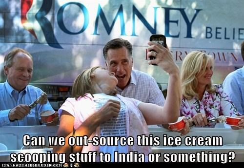 ice cream,Mitt Romney,outsourcing,political pictures