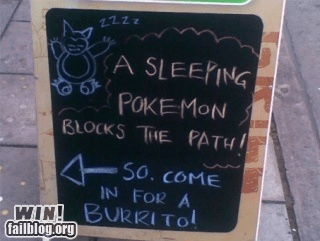 bar,chalk sign,food,nerdgasm,Pokémon,sign,tacos
