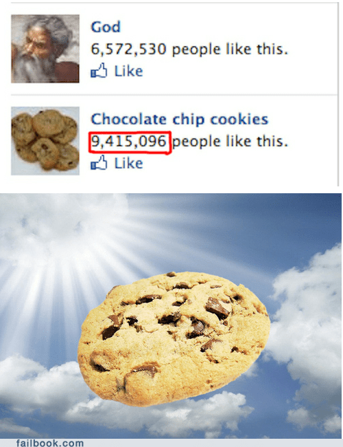 Failbook: If Little Wafers of Bread Are the Body of Jesus, Then Chocolate Chip Cookies Are the Body of God