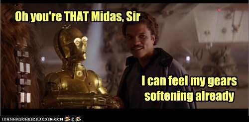 Billy Dee Williams,c3p0,gold,Lando Calrissian,midas,star wars