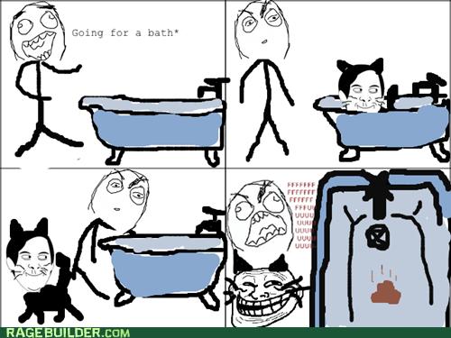 bath,cat,fu guy,pooptimes,Rage Comics