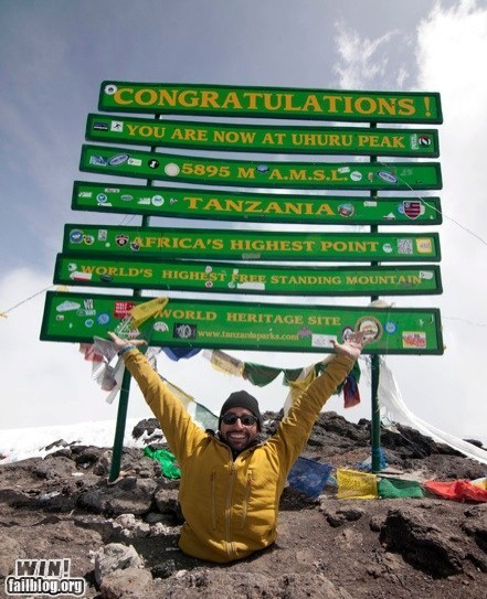 WIN!: Completely Relevant News: Climbing Kilimanjaro. With Your Hands.