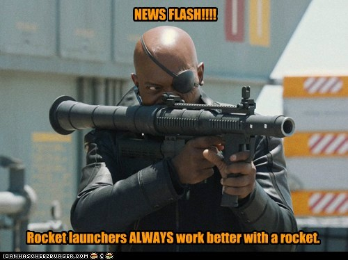 avengers,empty,news flash,Nick Fury,rocket,rocket launchers,RPG,Samuel L Jackson