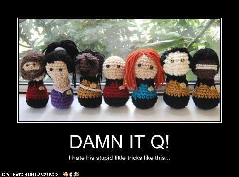 Amigurumi,beverly crusher,Captain Picard,counselor troi,data,Geordi Laforge,knit,Q,Star Trek,TNG,tricks,william riker,Worf