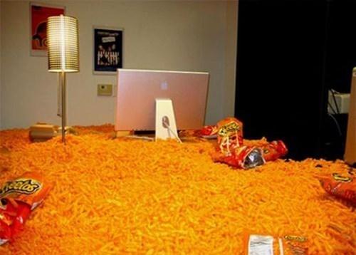 office pranks,cheetos