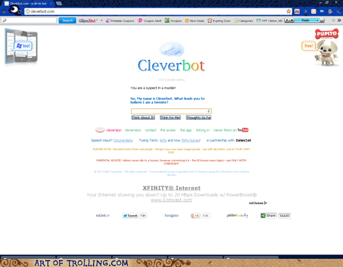 Oh Cleverbot you so crazy...