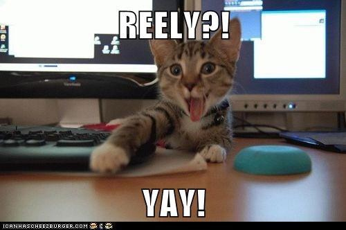REELY?!  YAY!