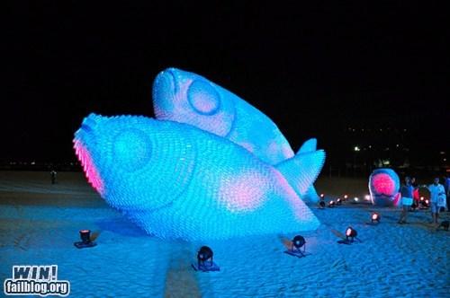 art,beach,fish,recycling,sculpture