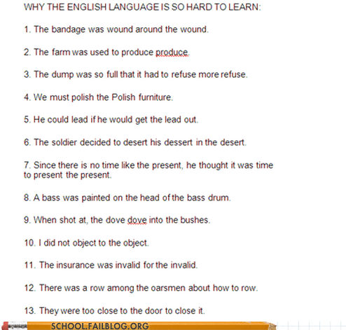 School of Fail: ESL 101: English is the Worst