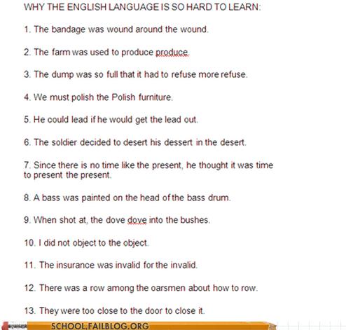 School of Fail: ESL 101: English is the Worst