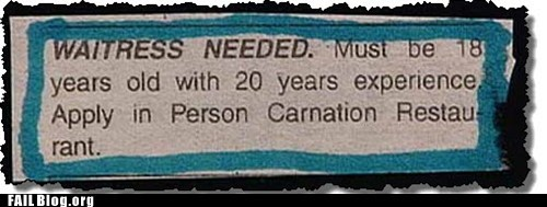 20 years,classified ads,waitress needed