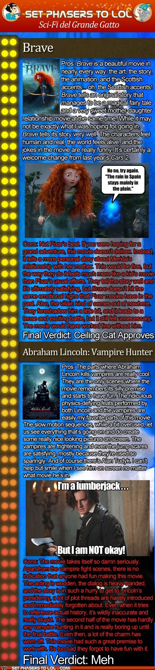 Sci-Fi del Grande Gatto: Brave and Abraham Lincoln Vampire Hunter