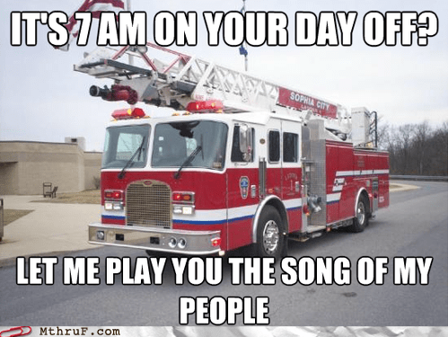 day off,fire alarm,fire engine,fire truck,vacation day