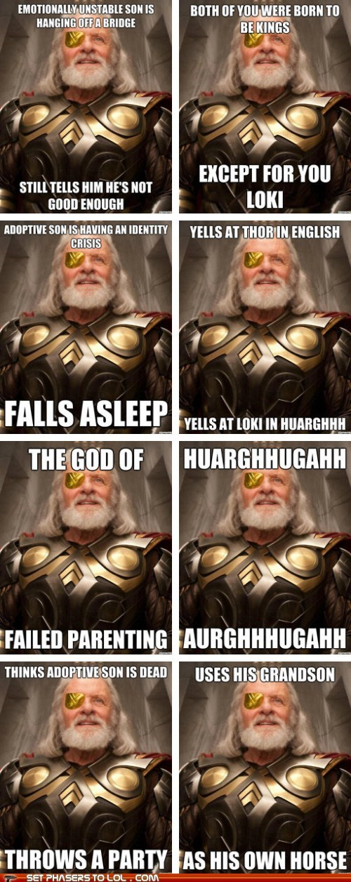 Anthony HOpkins,bad parenting,best of the week,loki,meme,odin,sons,terrible,Thor