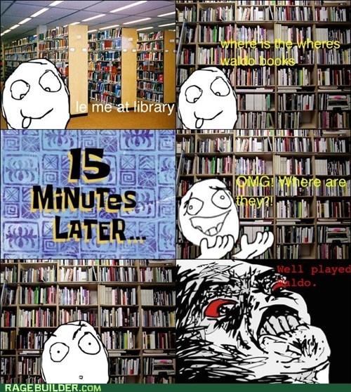 library,Rage Comics,raisin rage,wheres waldo