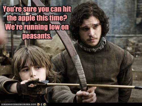 apple,bran stark,Game of Thrones,Jon Snow,kit harington,low,peasants,william tell