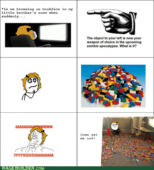 legos,Rage Comics,weapon,zombie