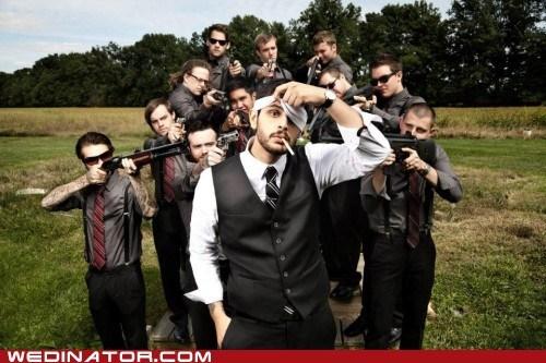 funny wedding photos,grom,Groomsmen,guns,shotgun