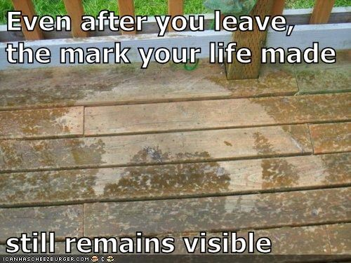 Even after you leave, the mark your life made    still remains visible