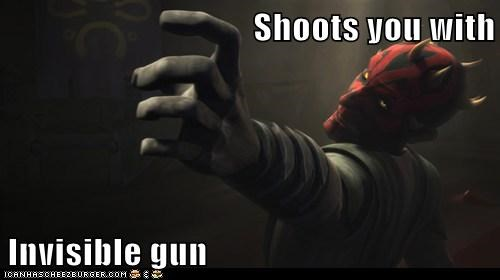Shoots you with  Invisible gun