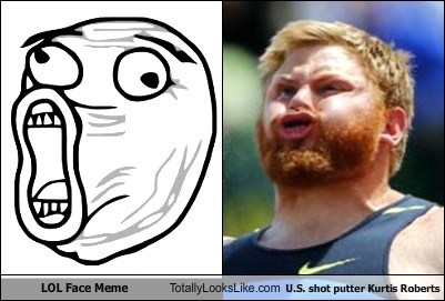 LOL Face Meme Totally Looks Like U.S. Shot Putter Kurtis Roberts