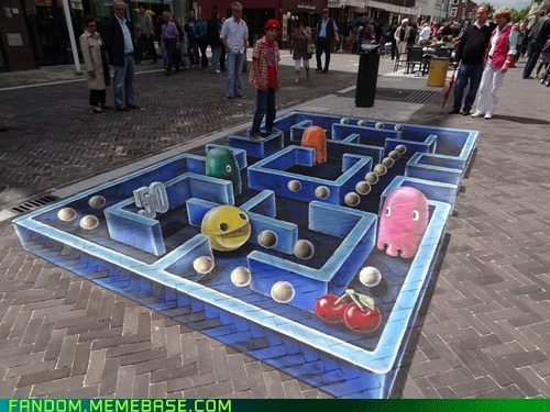 chalk,FanArt,pac man,sidewalk art