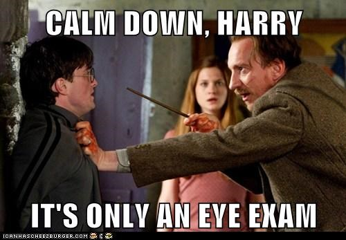 bonnie wright,calm down,Daniel Radcliffe,david thewlis,eye exam,ginny weasley,harry,Harry Potter,professor lupin,scared,threat,wand