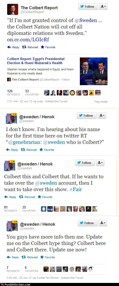 Stephen Colbert vs. @Sweden
