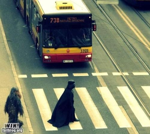 bus,chewbacca,crosswalk,darth vader,nerdgasm,star wars