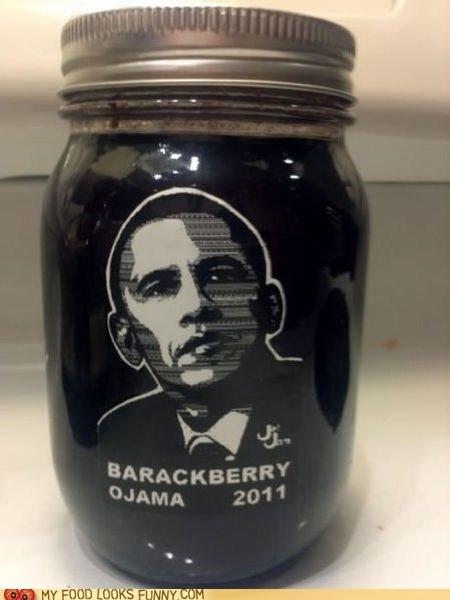 barackberry,jam,jar,label,obama