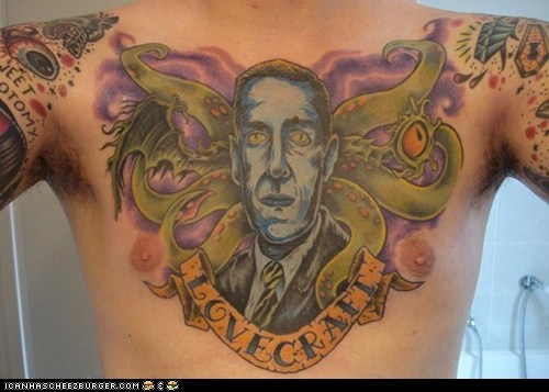Lovecraft Tattoo via Weird Tales Magazine