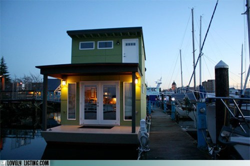 Tiny Green Houseboat