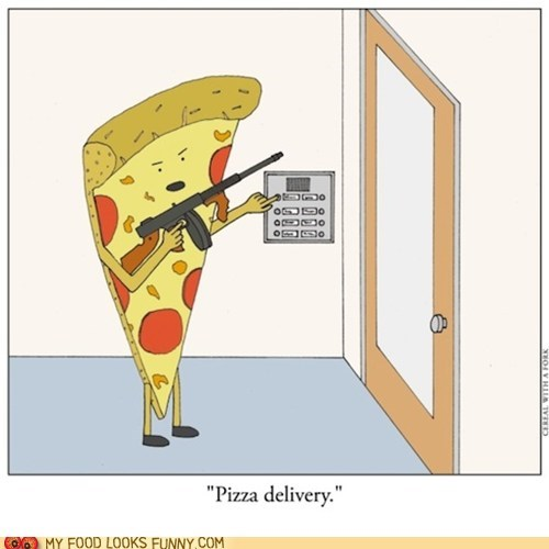 comic,delivery,evil,gun,pizza
