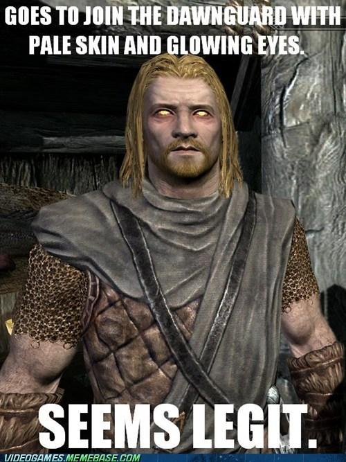 dawnguard,expansion,glowing eyes,meme,obvious,seems legit,Skyrim