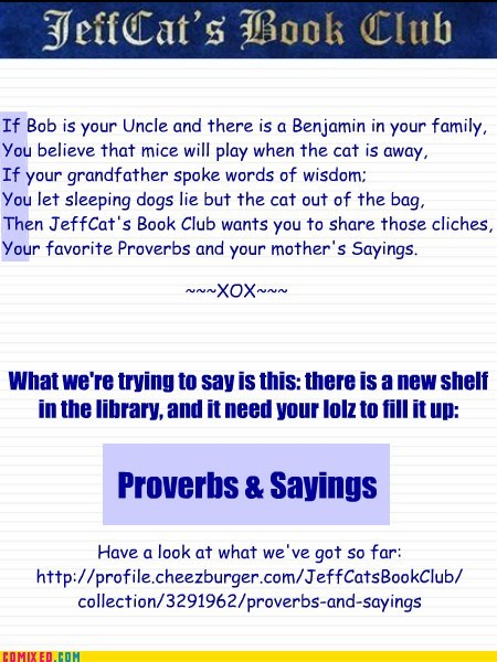 Proverbs & Sayings for JeffCats's Book Club