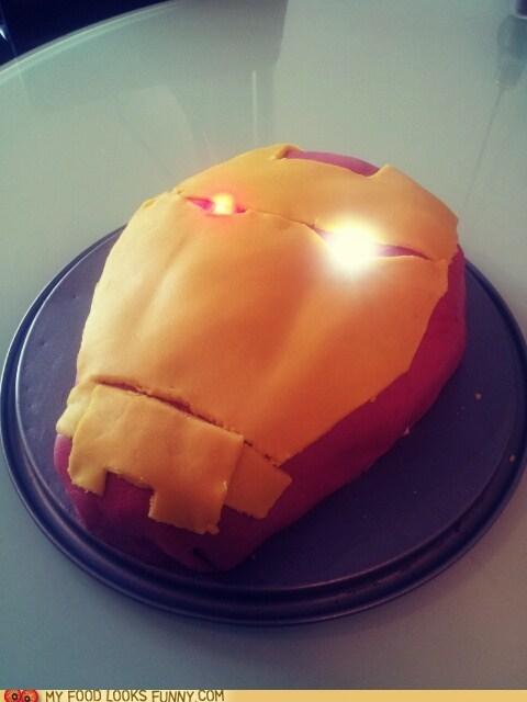 cake,iron man,lights,mask