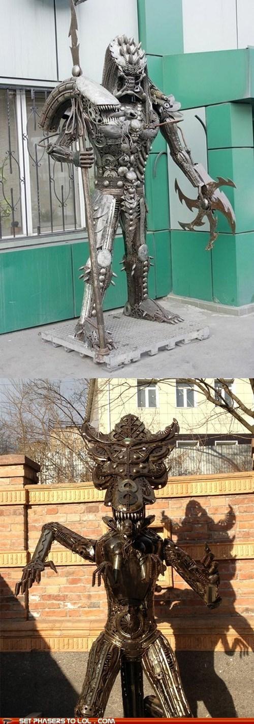 alien vs predator,Aliens,art,awesome,big,life size,metal,sculpture